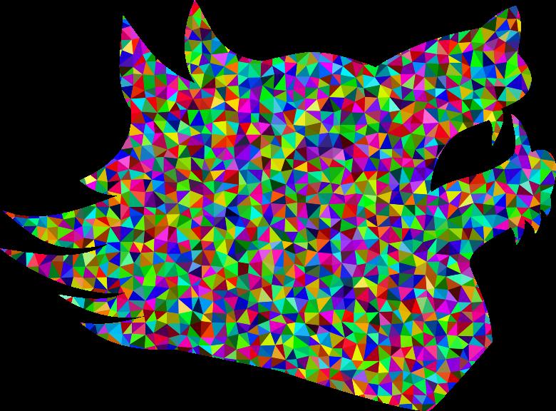 Clipart rainbow wolf. Prismatic low poly medium