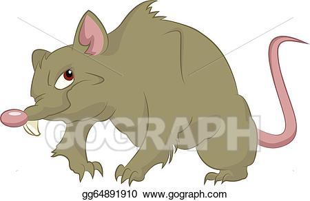 Vector illustration stock clip. Rat clipart big rat