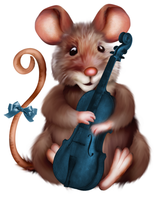 Mouse with violin cartoon. Clipart rat christmas