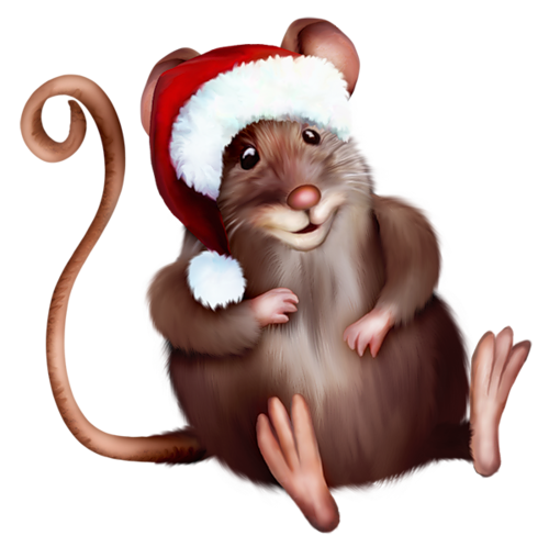 Mouse with santa hat. Clipart rat christmas