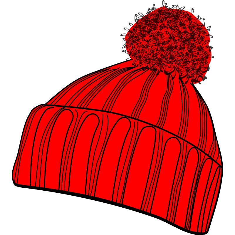 Girl with red clip. Winter clipart hat