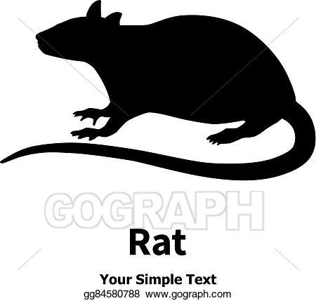 Vector art black drawing. Clipart rat simple
