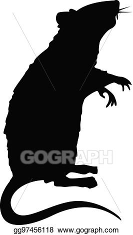 Vector art silhouette drawing. Clipart rat standing