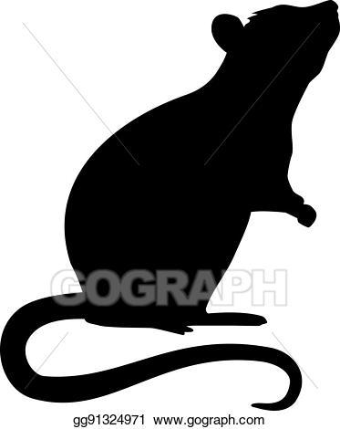 Vector silhouette . Clipart rat standing