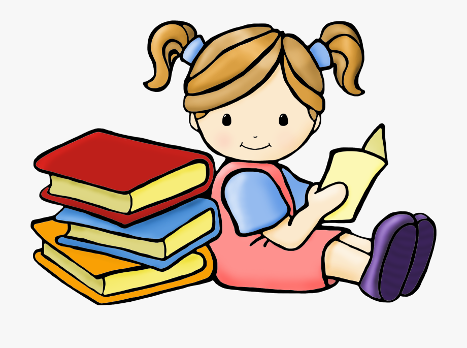 Clipart book reading. Free images girl