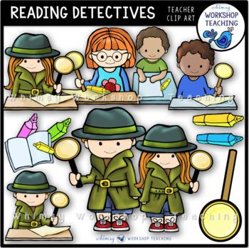 Detective clipart close reading. Detectives clip art