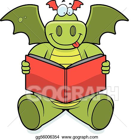 Vector stock illustration . Dragon clipart reading
