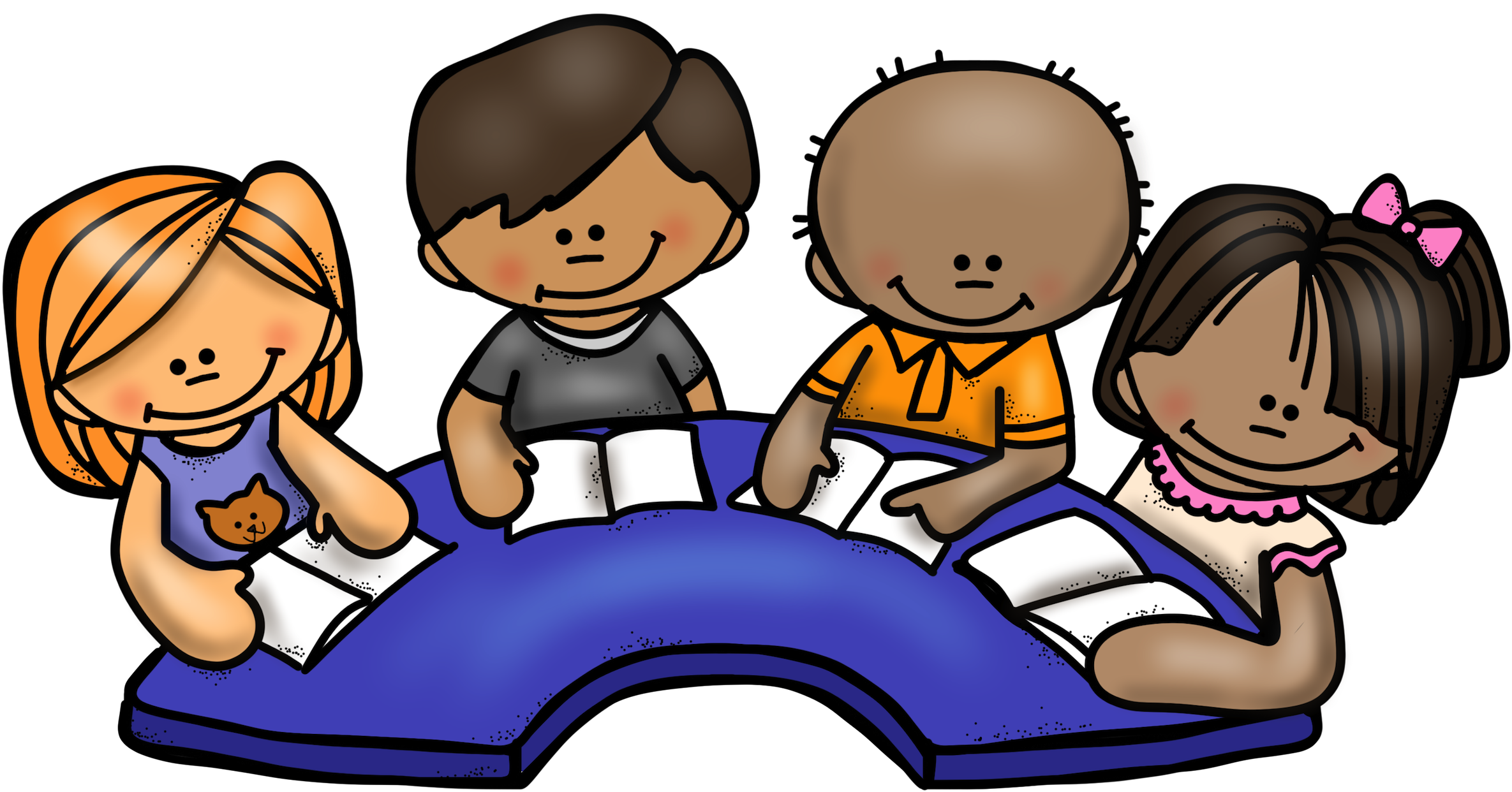 Clipart reading guided reading. Friendly group child clip