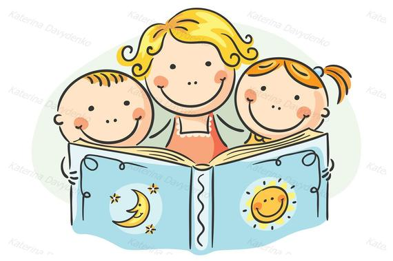 Clipart reading happy reading. Mother and kids together