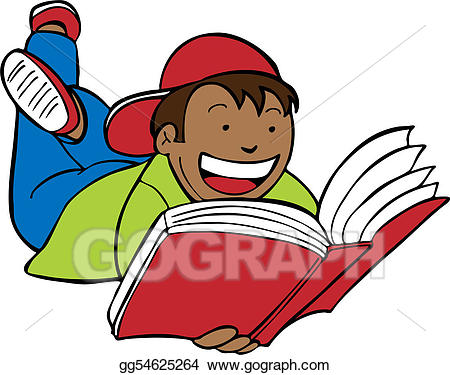 Vector art child book. Clipart reading happy reading