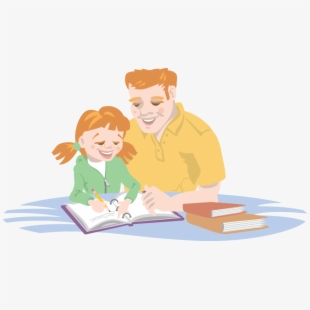 Dad helping his daughter. Clipart reading homework