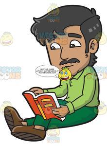 Clipart reading interesting book. A man an