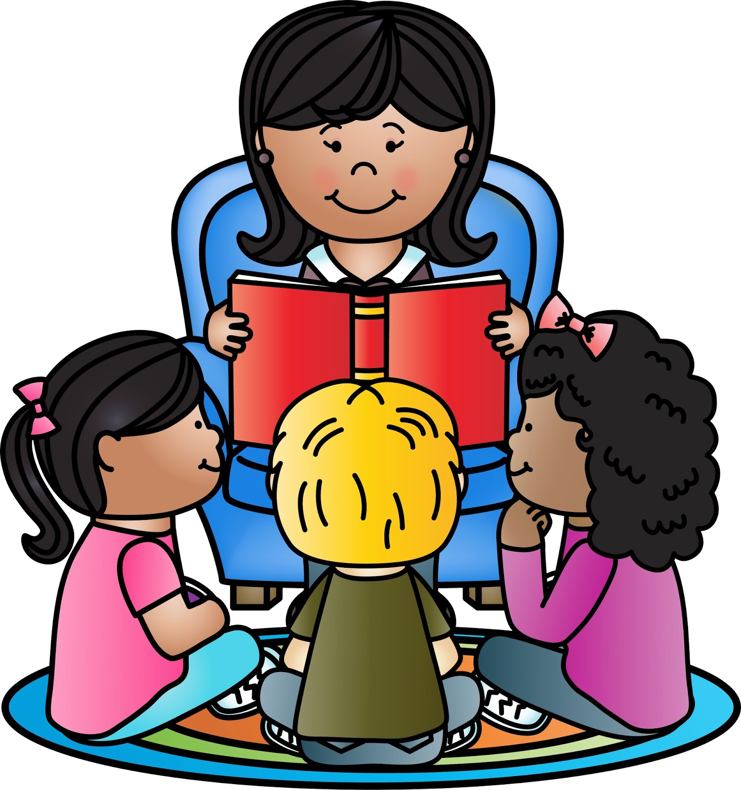 Free reading aloud cliparts. Librarian clipart kindergarten teacher