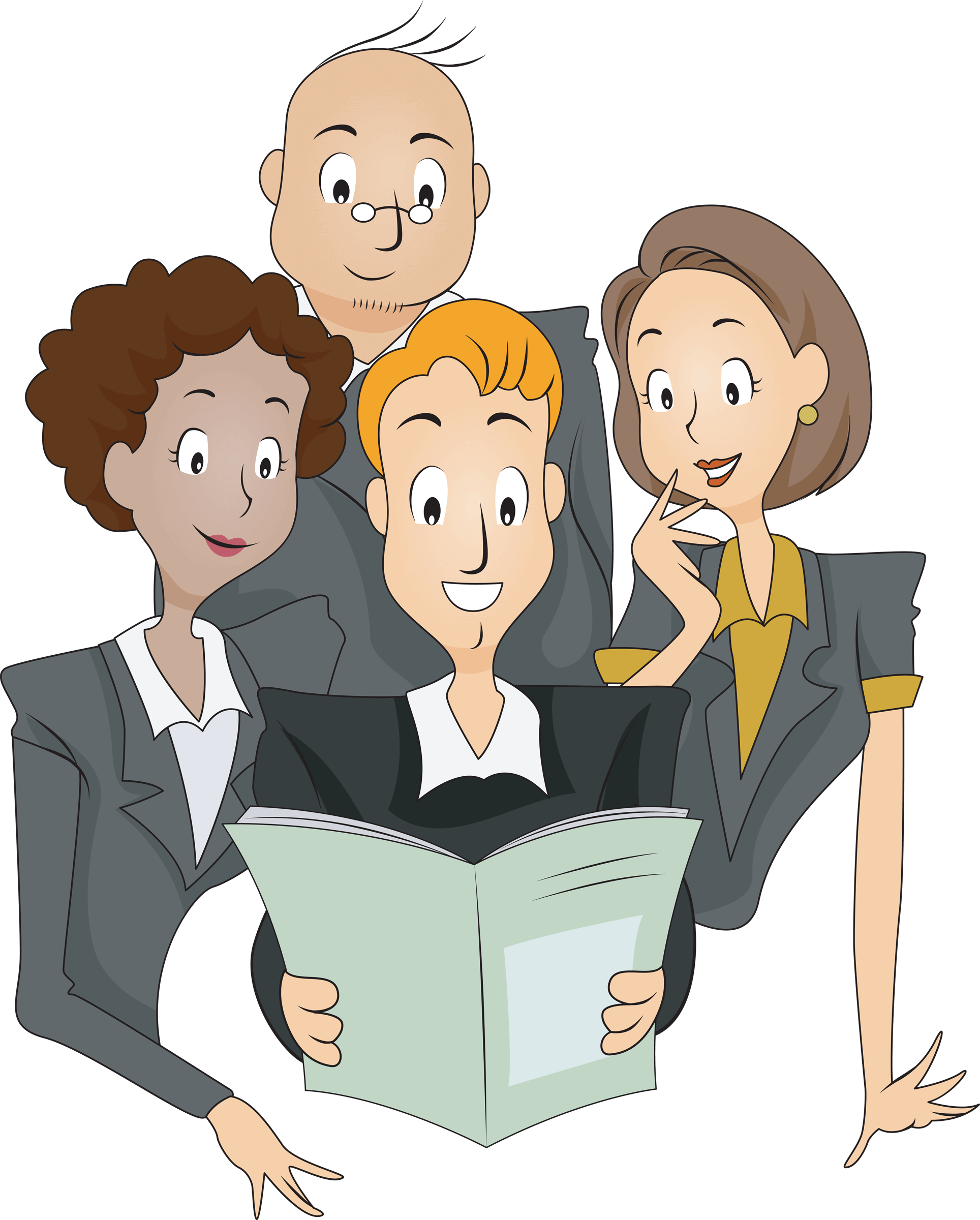 Clipart reading magazine. Group of people a
