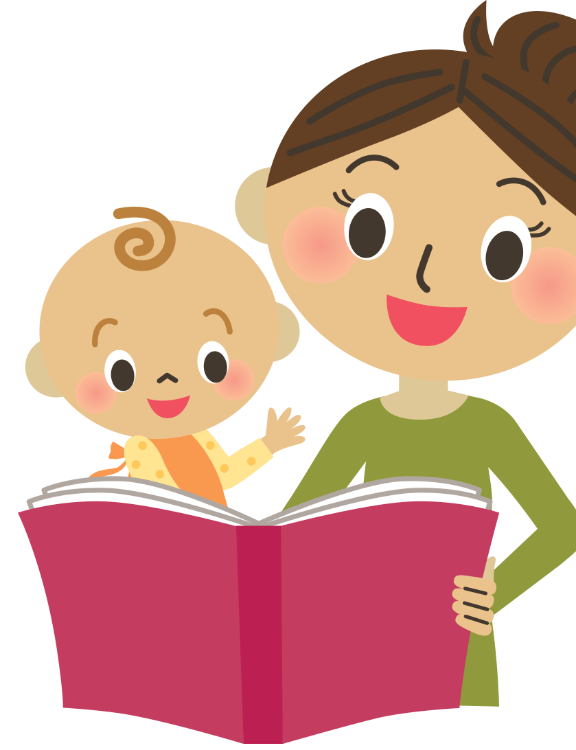 Talk read play about. Clipart reading mom baby