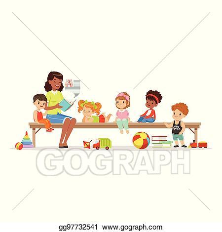 Clipart reading preschool reading. Vector teacher a book