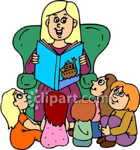 Teacher to her student. Clipart reading preschool reading