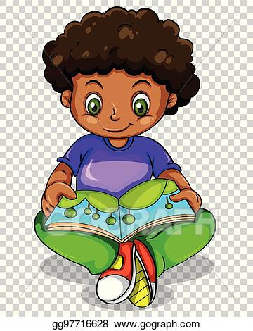 Vector stock boy storybook. Clipart reading reading story book