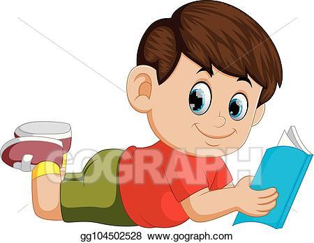 Vector stock boy illustration. Clipart reading reading story book