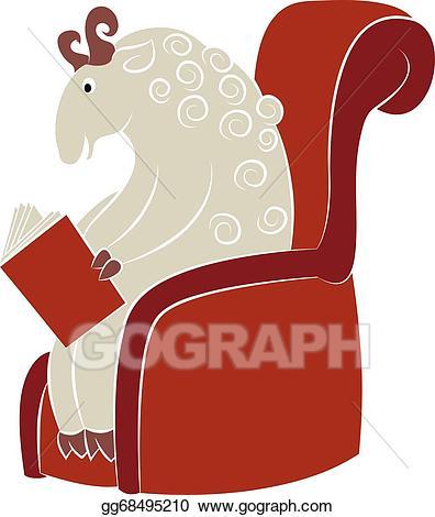 Sheep clipart reading. Vector art drawing gg