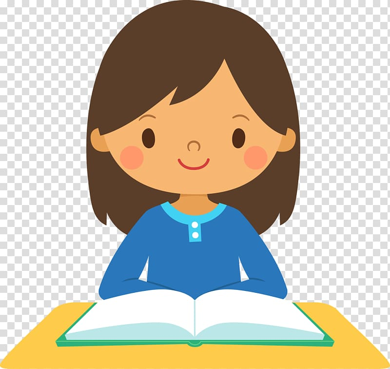 Clipart reading student thinking. Girl book illustration school