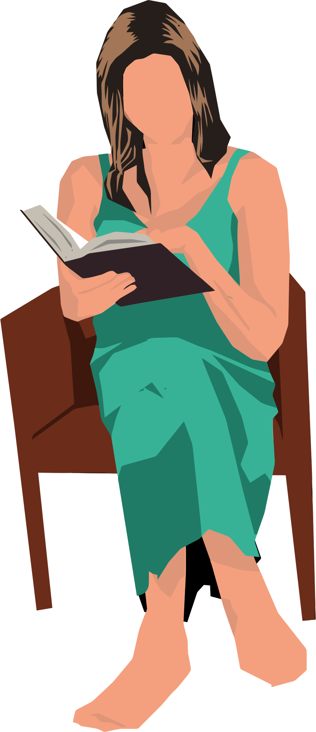 Sitting in chair big. Clipart reading woman