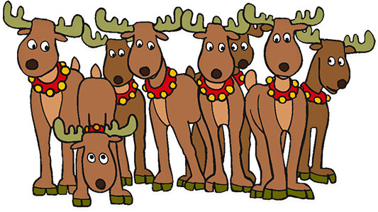Clipart reindeer. Free christmas walking print