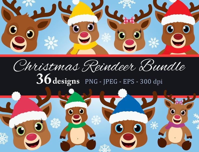 Clipart reindeer baby boy christmas. Bundle png cute clip