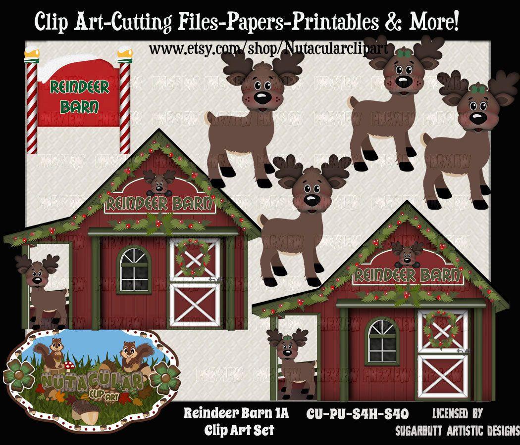 Clipart reindeer barn. Clip art set a