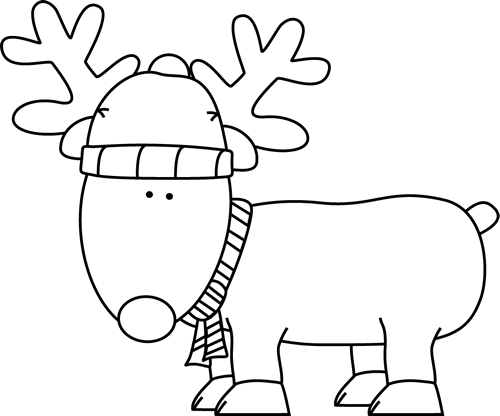 Clip art christmas . Clipart reindeer black and white