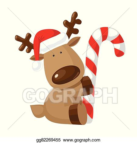 Vector art with drawing. Clipart reindeer candy cane