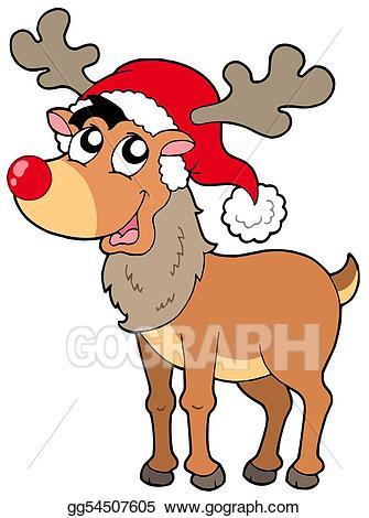Drawing cartoon christmas . Clipart reindeer catoon