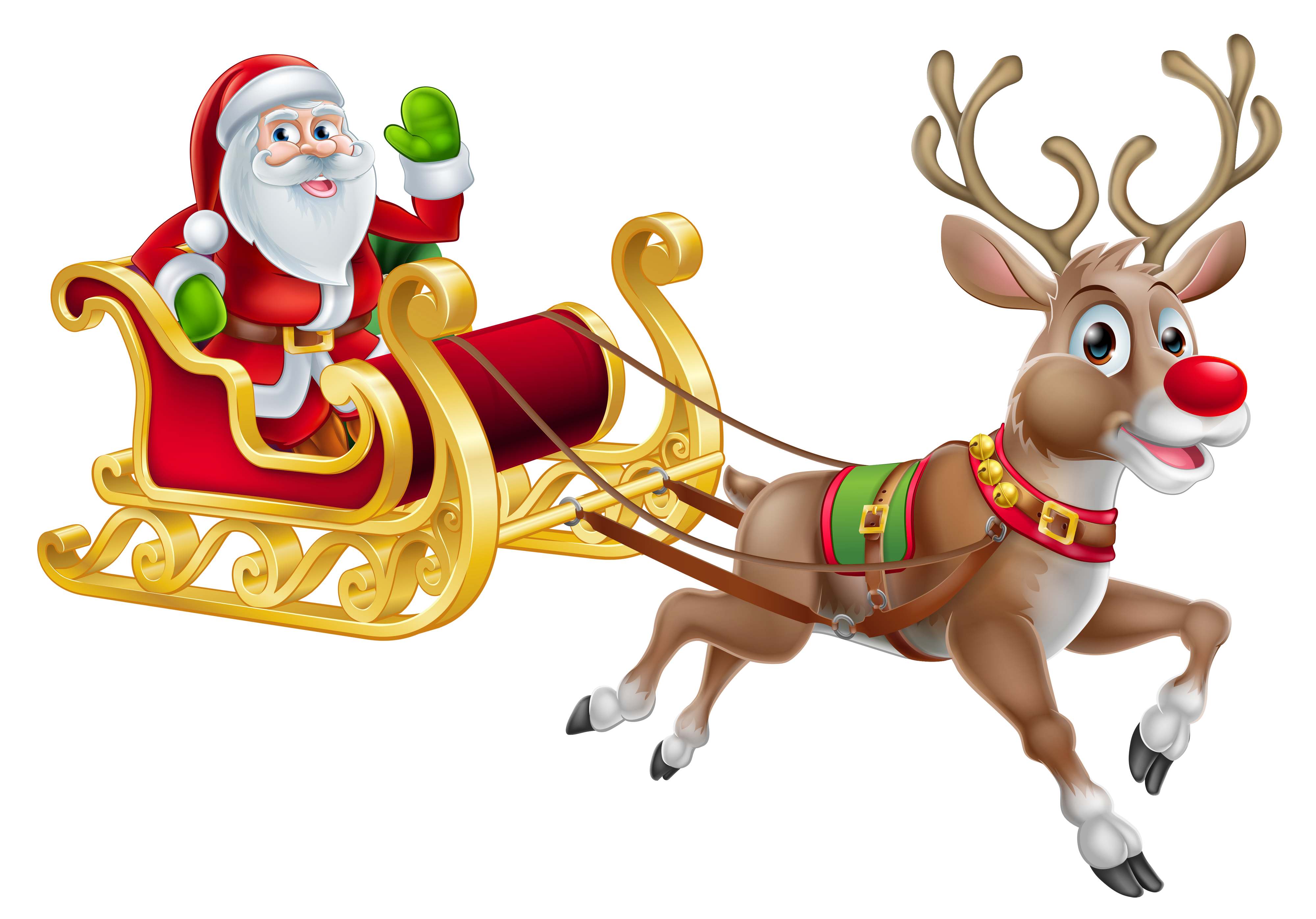 Santa clipart father. Transparent christmas and sledge