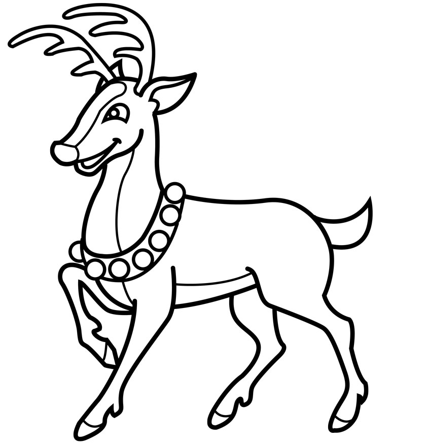 Free christmas line drawing. Clipart reindeer colorable