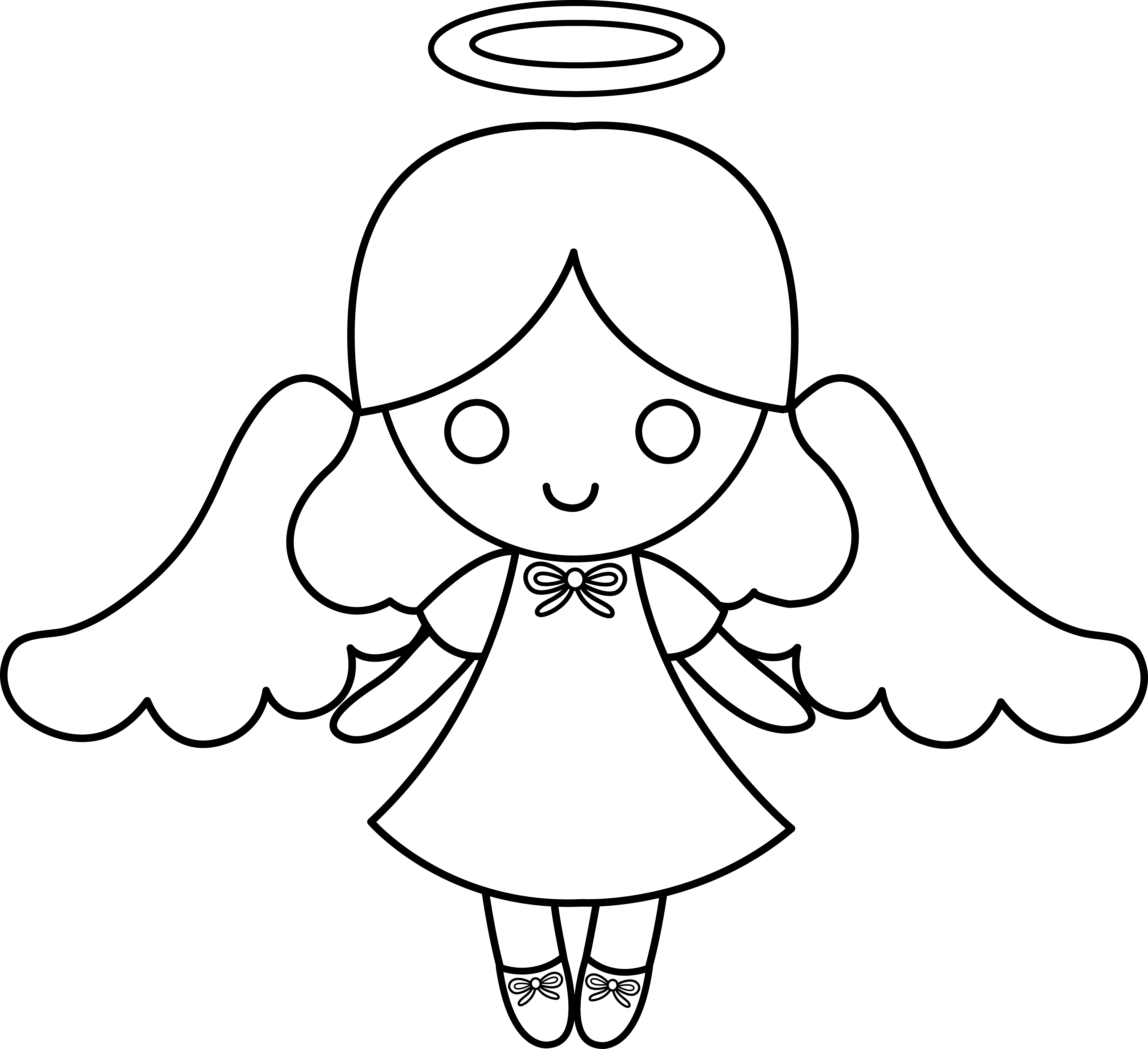 Clipart reindeer colorable. Cute little angel free