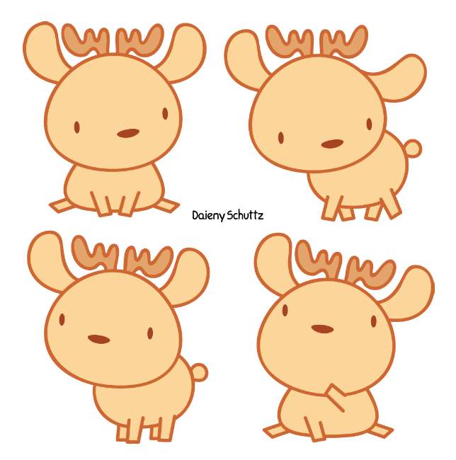 Little reindeer by daieny. Market clipart doodle
