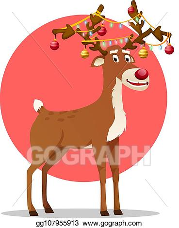 Vector art santas eps. Clipart reindeer dasher