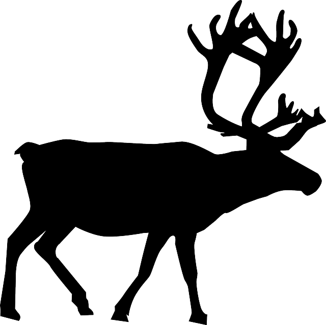 Clipart reindeer easy. Silhouette of santa and