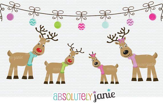 Clipart reindeer family. Clip art holiday christmas
