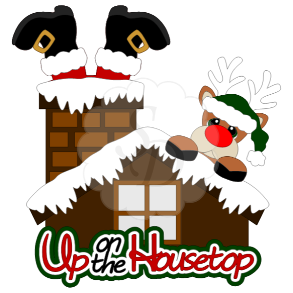 Clipart reindeer file. Up on the house
