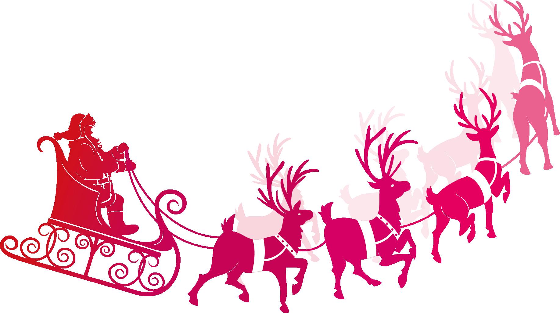 Clipart santa rudolph. And his sleigh at