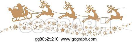 Vector art santa sleigh. Clipart reindeer gold