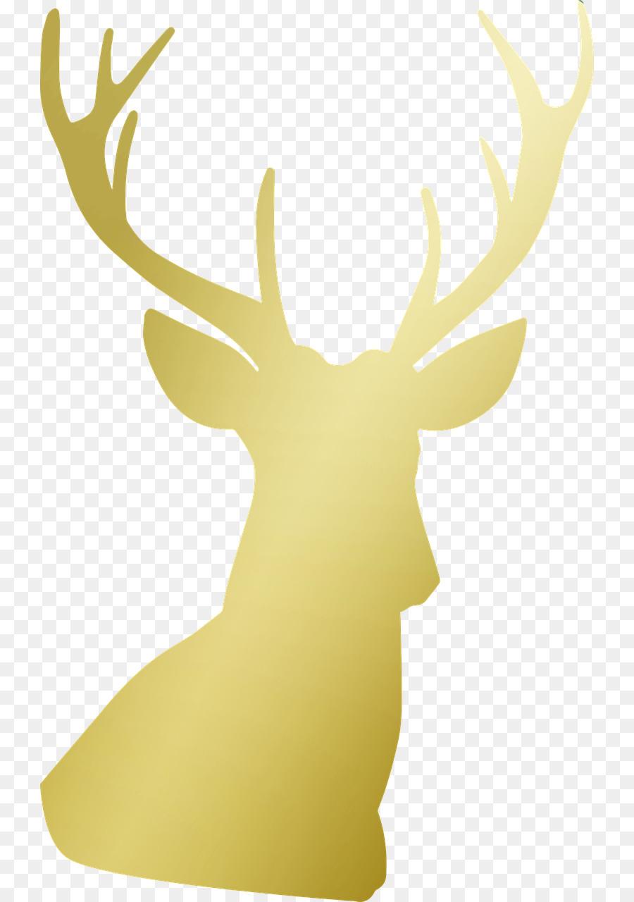 Christmas deer yellow . Clipart reindeer gold