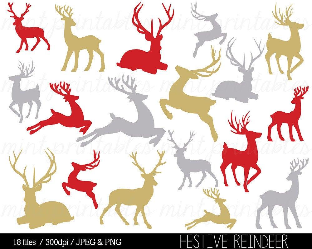 Clipart reindeer gold. Christmas clip art silhouette