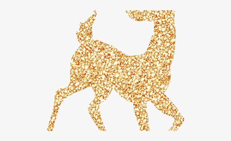 Glitter transparent . Clipart reindeer gold