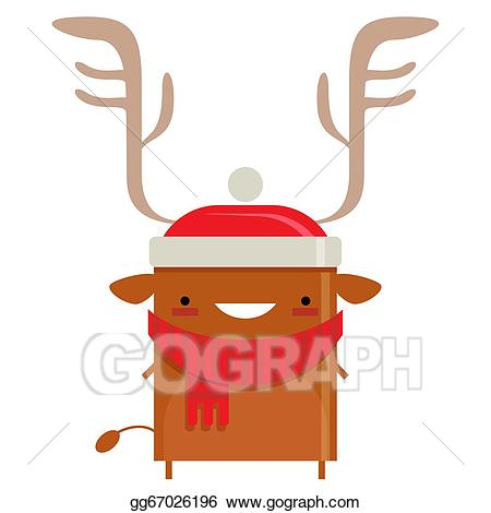 Simple smiling santa claus. Clipart reindeer happy