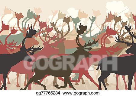 Clipart reindeer herd. Vector illustration