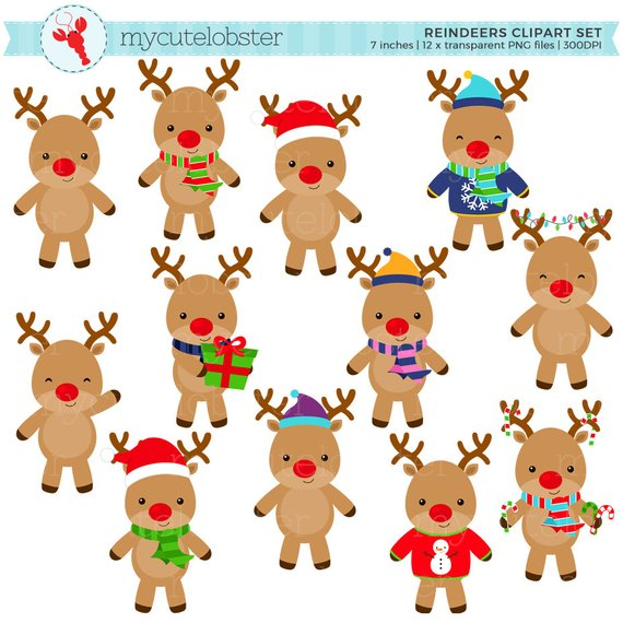 Reindeers set clip art. Clipart reindeer holiday