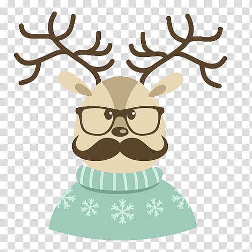 Hipster xmas transparent background. Clipart reindeer illustration