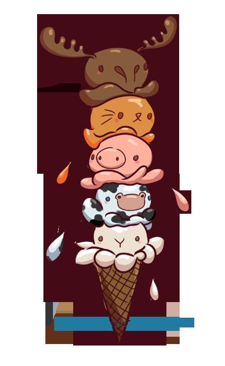 Ice cream critters by. Clipart reindeer kawaii